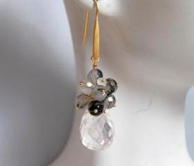 White crystal quartz briolette and black rutilated earrings