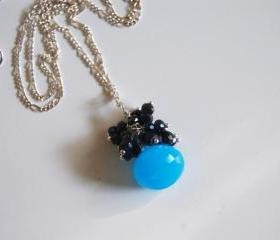 Ocean Blue Chalcedony, Mystic Blue Black Spinel necklace on sterling silver