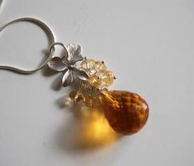 Golden crystal quartz and Citrine cluster necklace
