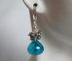 Blue quartz onion briolette and pyrite dangle earrings