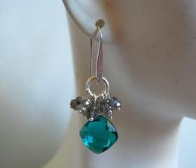 Paraiba blue quartz briolette and flashy Labradorite earrings