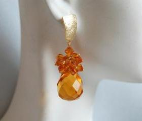 Golden Yellow Quartz briolette and Swarovski crystal bicone dangle earrings