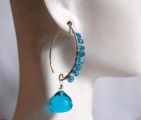 London blue quartz and London blue Topaz earrings