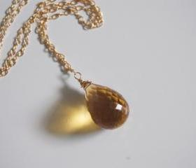 Golden Quartz necklace and gold filled chain