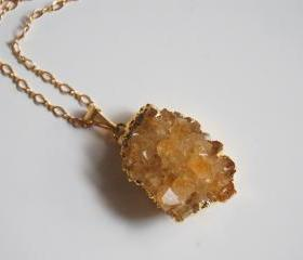 Citrine Druzy Geode gold pendant necklace
