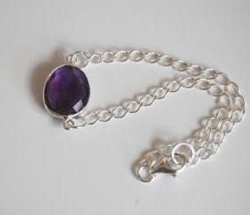 Dark Purple Amethyst bezel setting bracelet with Sterling Silver chain