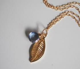 Blue Mystic Quartz and leaf charm Necklace