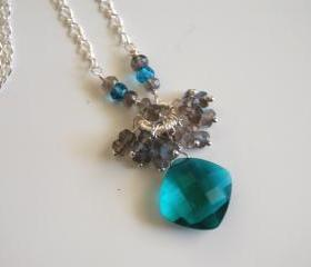 Beautiful Paraiba blue quartz and flashy Labradorite necklace