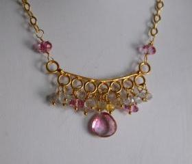 Pink mystic quartz ,topaz and tourmaline necklace