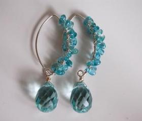 Swiss blue Crystal quartz briolette and Chalcedony chips earrings
