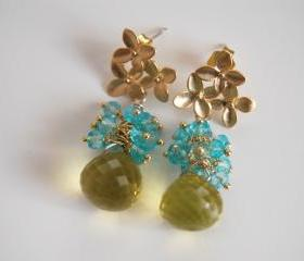 AAA green lemon quartz and sky blue quartz earrings