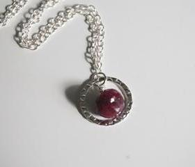 Ruby necklace with sterling silver chain