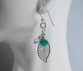 Emerald green quartz, swarovski crystal and leaf charm earrings