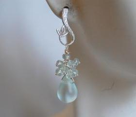 Light blue Apatite and Mist light blue quartz briolette earrings