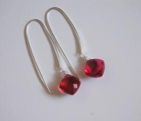 RHODOLITE RED Quartz long drop earrings
