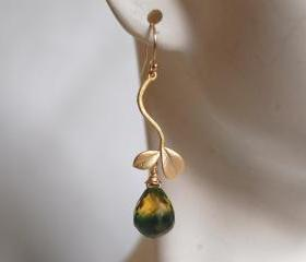 Bi-color green and yellow quartz briolette dangle earrings