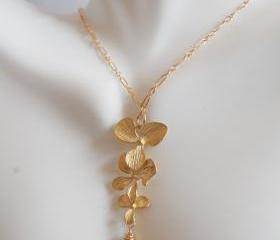 Gorgeous Lemon quartz heart briolette and Orchid flower charm necklace