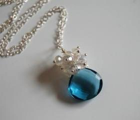 London blue quartz and moonstone necklace