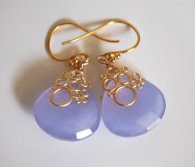 Lavender chalcedony heart briolette earrings
