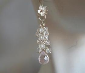 Rose quartz and Rock crystal cluster earrings