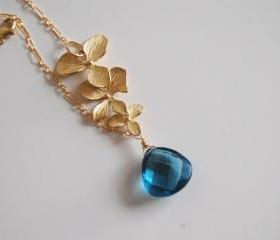 London blue quartz and Orchid charm Necklace with Gold filled chain.