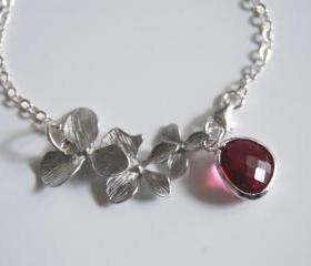 Bezel setting Fuchsia on Sterling silver Chain and orchid charm bracelet