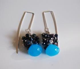 Ocean Blue Chalcedony, Mystic Blue Black Spinel long drop earrings