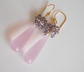 Baby Pink Quartz and Iolite Long drop Earrings