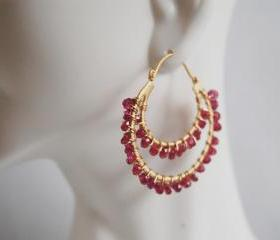 Gorgeous Rhodolite double hoop earrings