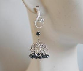 Blue Black Spinel small Chandelier earrings