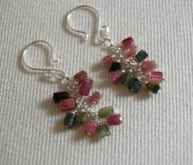 Multi tourmaline dangle earrings