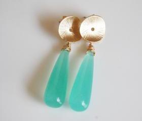 Aqua color smooth long drop quartz briolette earrings with round texture disc