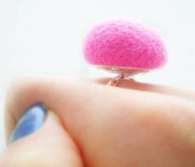 Pastel Pink Ring - Needle Felted Baby Pink Ring