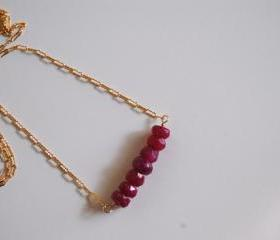 Genuine Ruby nacklace with Gold filled Chain