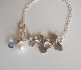 Sterling silver Charm Bracelet with Mystic quartz and Pearl