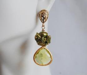 Green Keishi pearl and Peridot green glass drop earrings