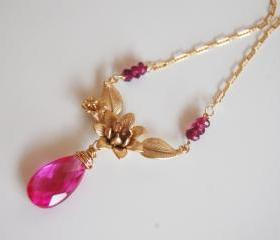 Hot pink Quartz And Gold Plated Flower pendant Necklace