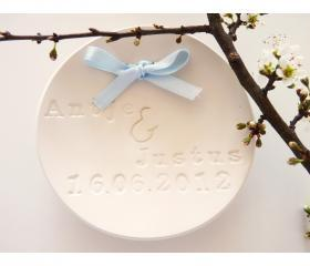 Wedding ring bearer bowl with names and dates - white porcelain