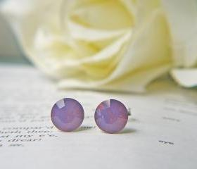 SALE Swarovski Crystal Cyclamen Opal Earrings. Classic Design. Sterling Silver Posts