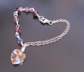 Amethyst Heart Fairy -925 silver chain, Swarovski Crystals & Heart
