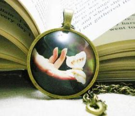 Unique Photo Necklace, Butterfly on the Tip, Hands with butterfly, Handmade cabochon necklace, artsy jewelry