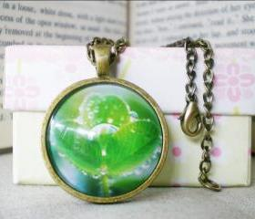 Tree of Life Necklace, Nature, Green, Wearable Art Necklace, 1 inch Pendant, Ready to Ship