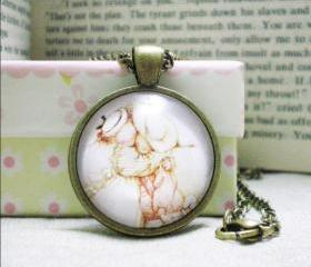Friends Necklace, Glass Cabochon Necklace, Friends, Image Cabochon Necklace, 1 inch