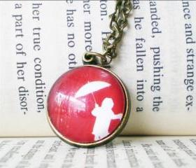 Round Cabochon Necklace, Girl in Red Rain, Handmade Jewelry, Glass Charm
