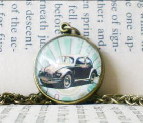 Vintage Car Necklace, Hippie Beetle, Retro Image Necklace