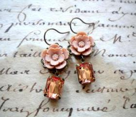 Flower Earrings - Vintage Earrings - Latte Earrings - Bridesmaid Earrings