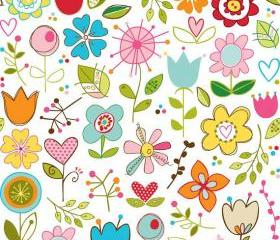 Sunny Happy Skies Fabric Large Floral on White from Riley Blake Designs