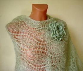READY TO SHIP Light green knitted shawl with flower brooch