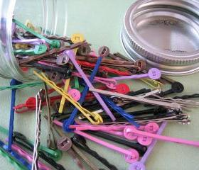 Multi Colored Hair Pins in a Glass Jar - 100 Pieces - Crafting and Jewelry Supplies by ZARDENIA