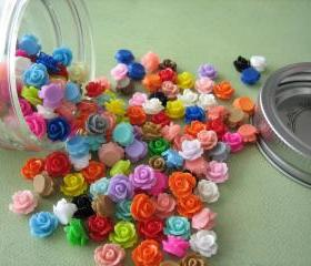 Mini Roses in a Glass Jar - 150 Pieces - Crafting and Jewelry Supplies by ZARDENIA - Great Crafting Gift